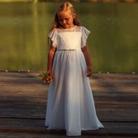 Fancy Flutter Sleeves Lace Chiffon A-line Flower Girl Dress for Wedding Party White Ivory Sheer Neck Kids First Communion Gowns