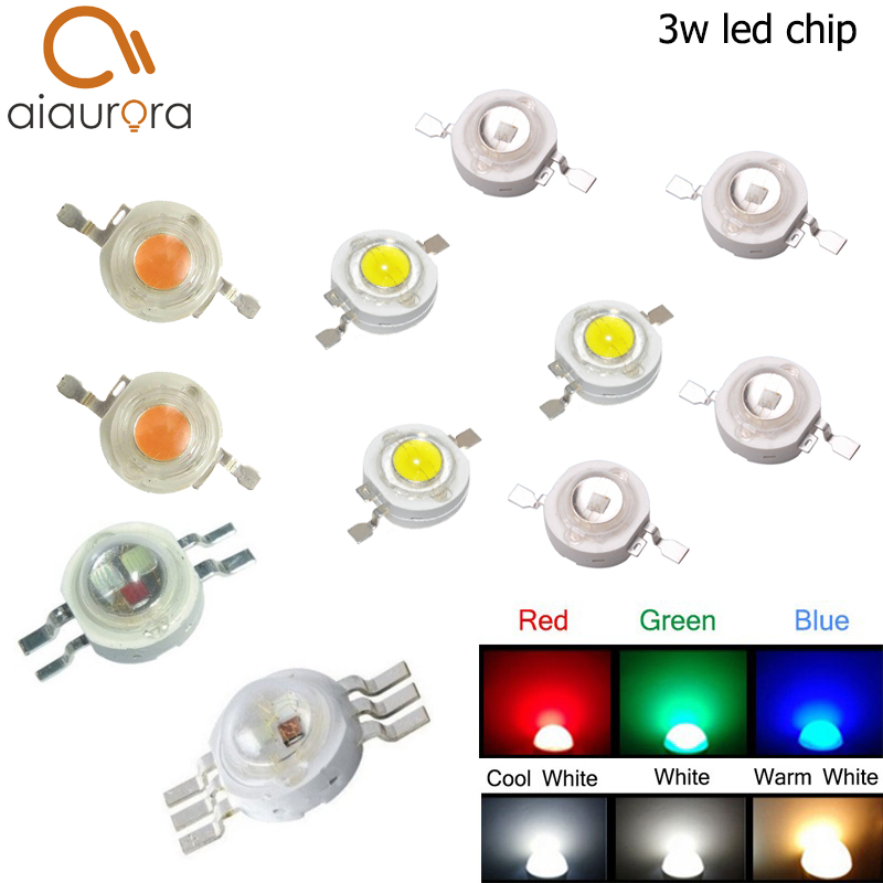 10pcs High Power 3W LED Chip 3 W Natural Cool Warm White Red Blue Green Yellow Light 45mil 3 watt SMD Intergrated for Spotlight