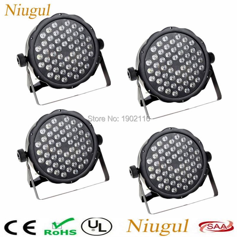 где купить 4pcs/lot Free shipping RGBW LED Flat par 54x3w dj disco lights dmx512 stage effect lighting led par lamp LED wash effect light по лучшей цене
