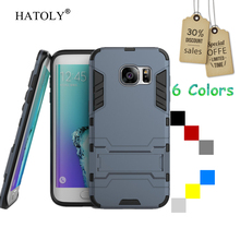 For Samsung Galaxy S7 Edge Case G9350 Slim Shockproof Robot Armor protector Hybrid Rugged Rubber Hard Stand Cover Coque