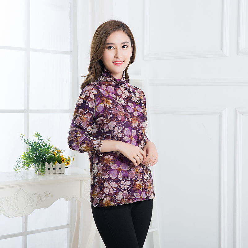 5187a163fa167d New arrival lady double layered pure mesh silk turtleneck T shirt ...
