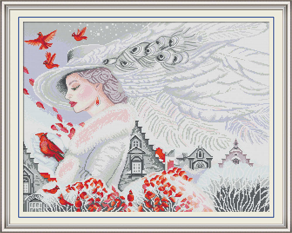 Beauty birds beauty girl decor painting counted printed on the canvas DMC 11CT 14CT kits Cross Stitch embroidery needlework Sets