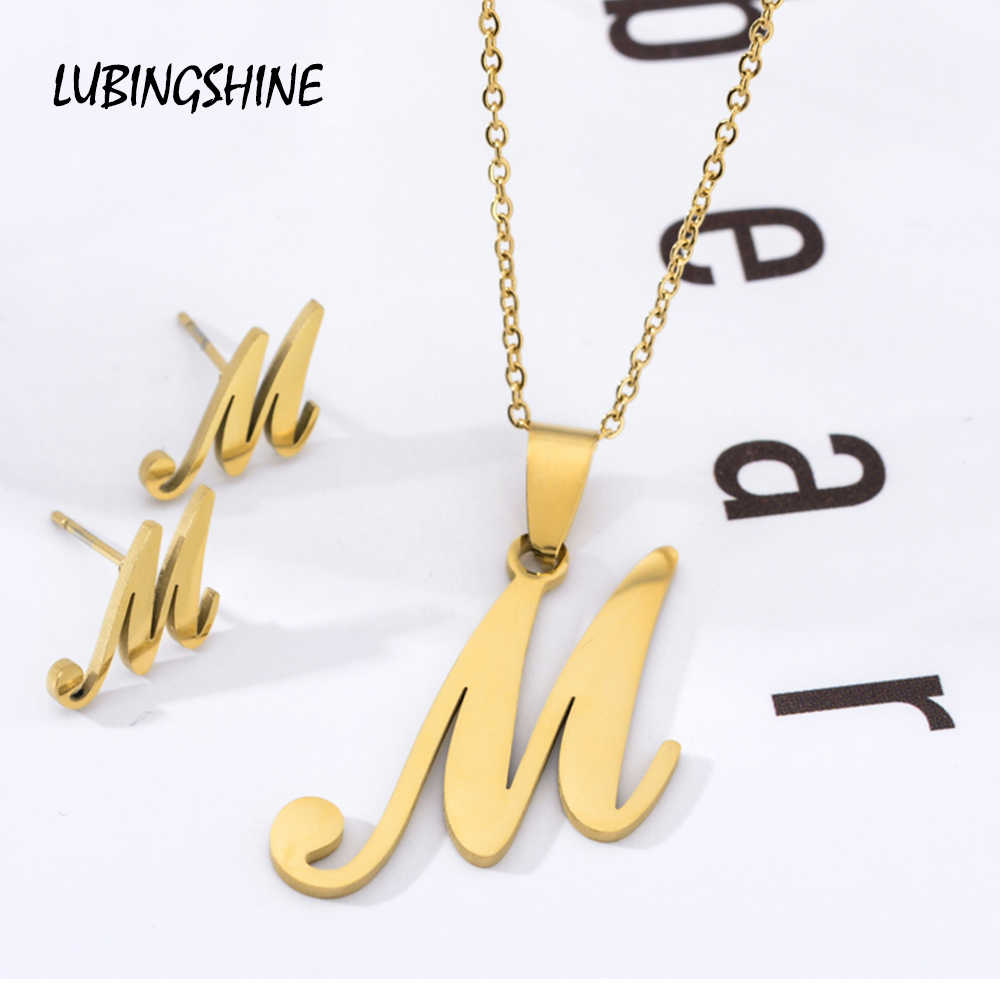26 Letter Stainless Steel Jewelry Set Gold Color Alphabet Long Chain Pendant Necklace Earring for Women Wedding Fashion Jewelry