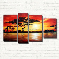 African scenery painting Canvas Art Picture Handmade Modern Landscape Oil Painting On Canvas Wall Art Gift Top Home Decoration