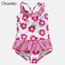 Charmo Baby Girls One Piece Swimsuits Flower Printed Swimwear Ruffled Kids Cute Bikini Beach Wear  Childrens One-Piece Suits