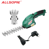 ALLSOME Electric Hedge Trimmer 2 in 1 7.2V Cordless Household Trimmer Rechargeable Weeding Shear Pruning Mower HT2668