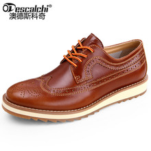 Odescalchi Fashion Genuine leather Bullock carved oxford shoes for mens British retro lace-up flat mens dress shoes