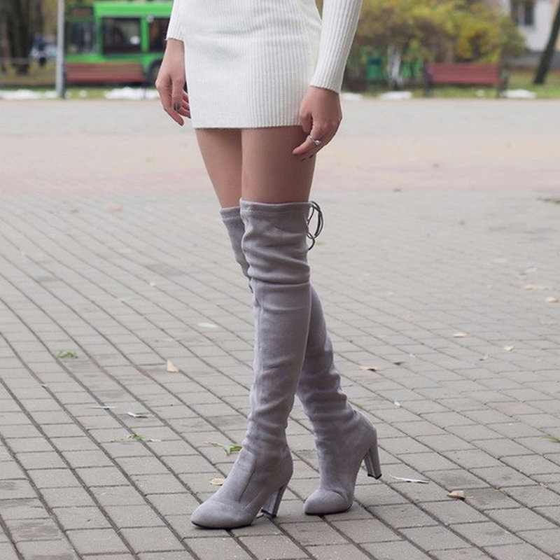 Nude Lace Up Thigh High Heels