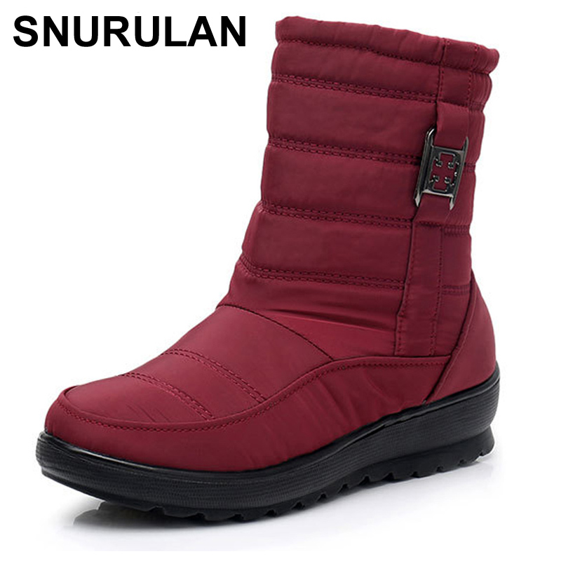 SNURULANWomen's Boots Thick Plush Warm Winter Waterproof Mother Shoes Ladies Ankle Boot Snow Boots Women Waterproof Woman Shoes|Ankle Boots| |  - title=