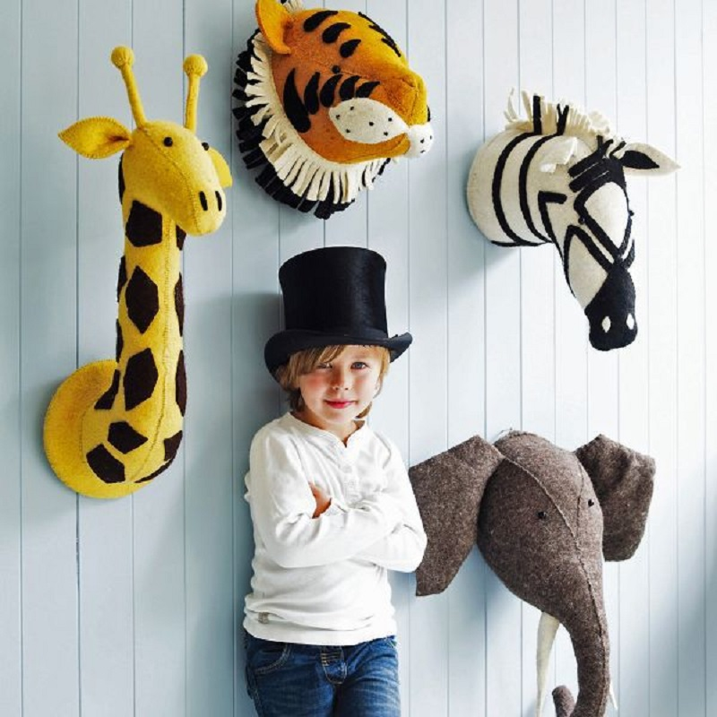 Animal Giraffe Elephant Flamingo Head Wall Mount Stuffed Plush Toys Bedroom Decoration felt Artwork Wall Dolls Photo Props