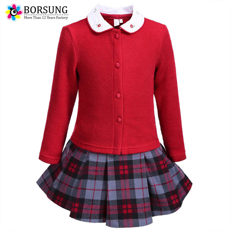 BORSUNG Girls Clothing Sets 2017 Christmas Girl Autumn Boutique Outfits Girls Knitted Sweater+Plaid Skirt 2ps Suit Girls Clothes school girls brand cardigan clothes sets knitted sweater wave skirt 2pcs winter autumn warm children clothing kids outfits w75