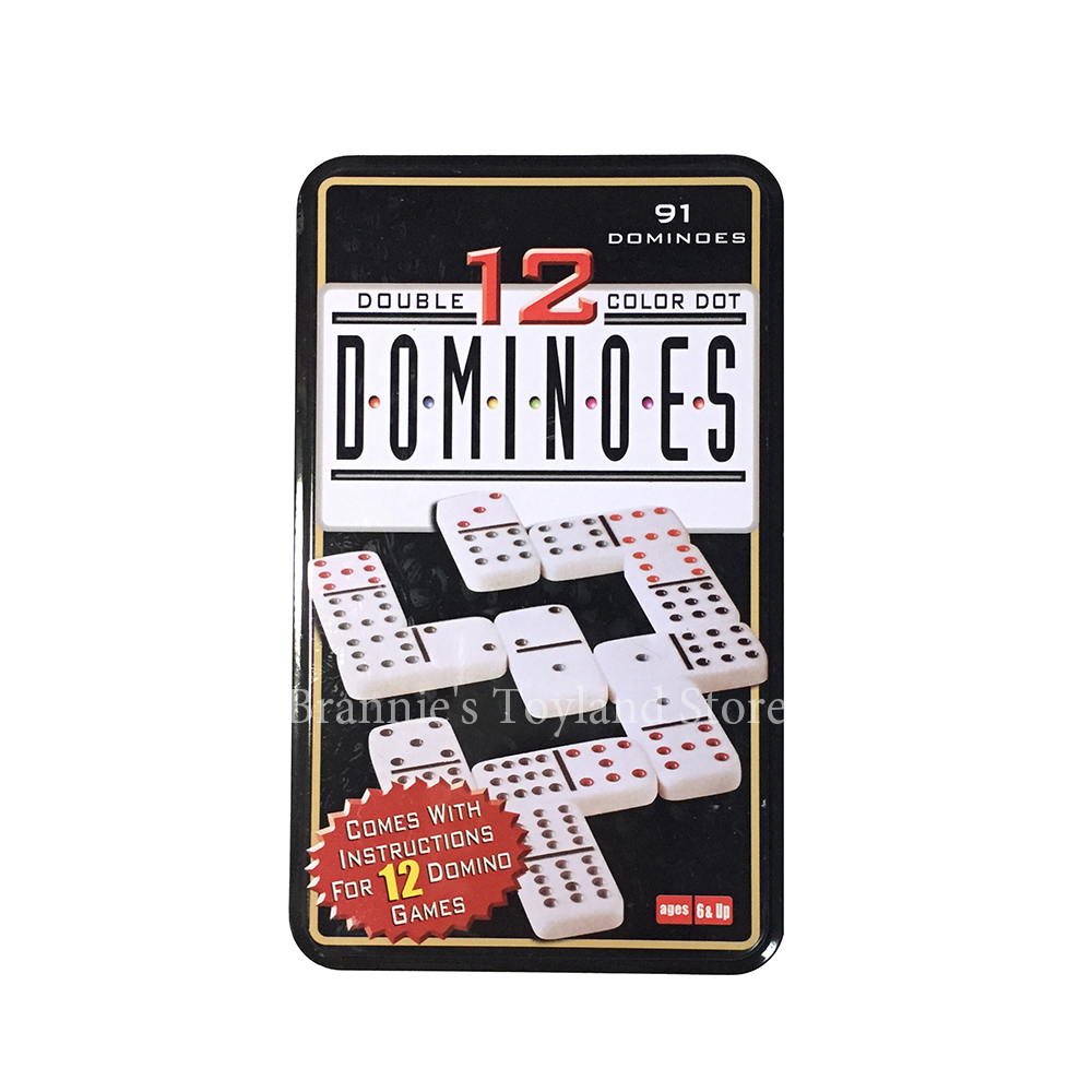 Double 12 Dominoes Metal Box Big Domino 91PCS Pai Gow Toy Game Table Game Toys for Children and Adults Board Game Dominos high quality board games 91 pcs double 12 melamine domino block set with metal box