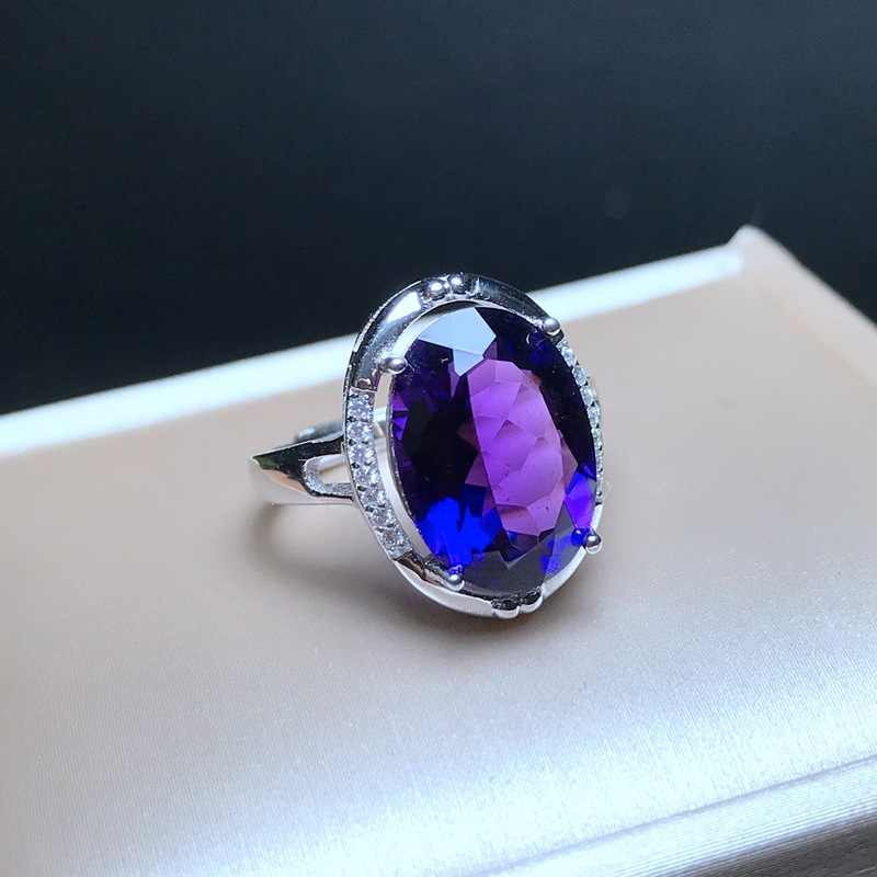 MeiBaPJ Natural Big Amethyst Gemstone Fashion Ellipse Simple Ring for Women Real 925 Sterling Silver Fine Charm Jewelry