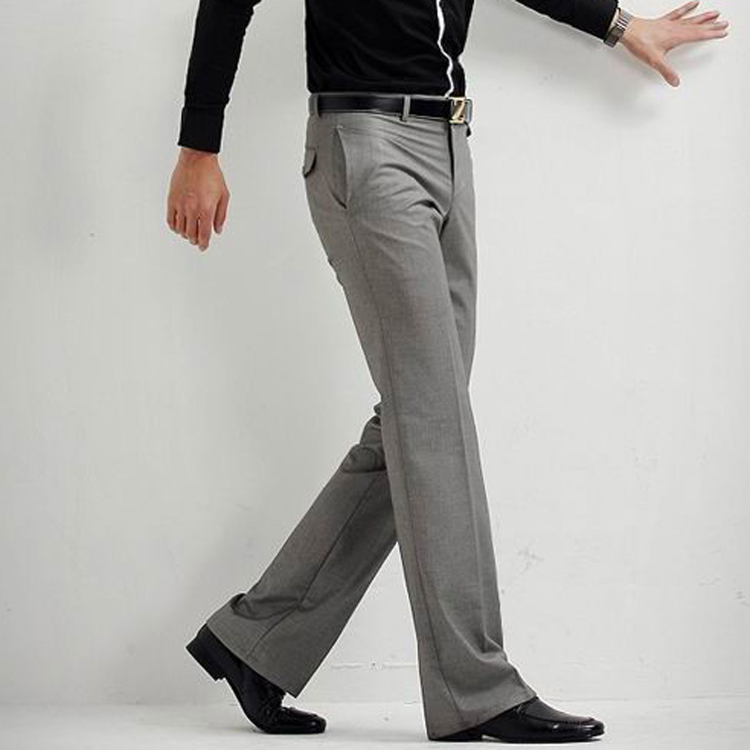 Men Business Long Trousers Zipper Full Length Work Pants Solid Color Male  Fitted Slacks Grey Black 058 83e60c16694c