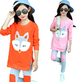 2017 Spring New Fashion Baby Girls Clothing set Cartoon Children's Clothing 2PCS  Long Sleeve Fox Tops + Pant Sets AutumnClothes