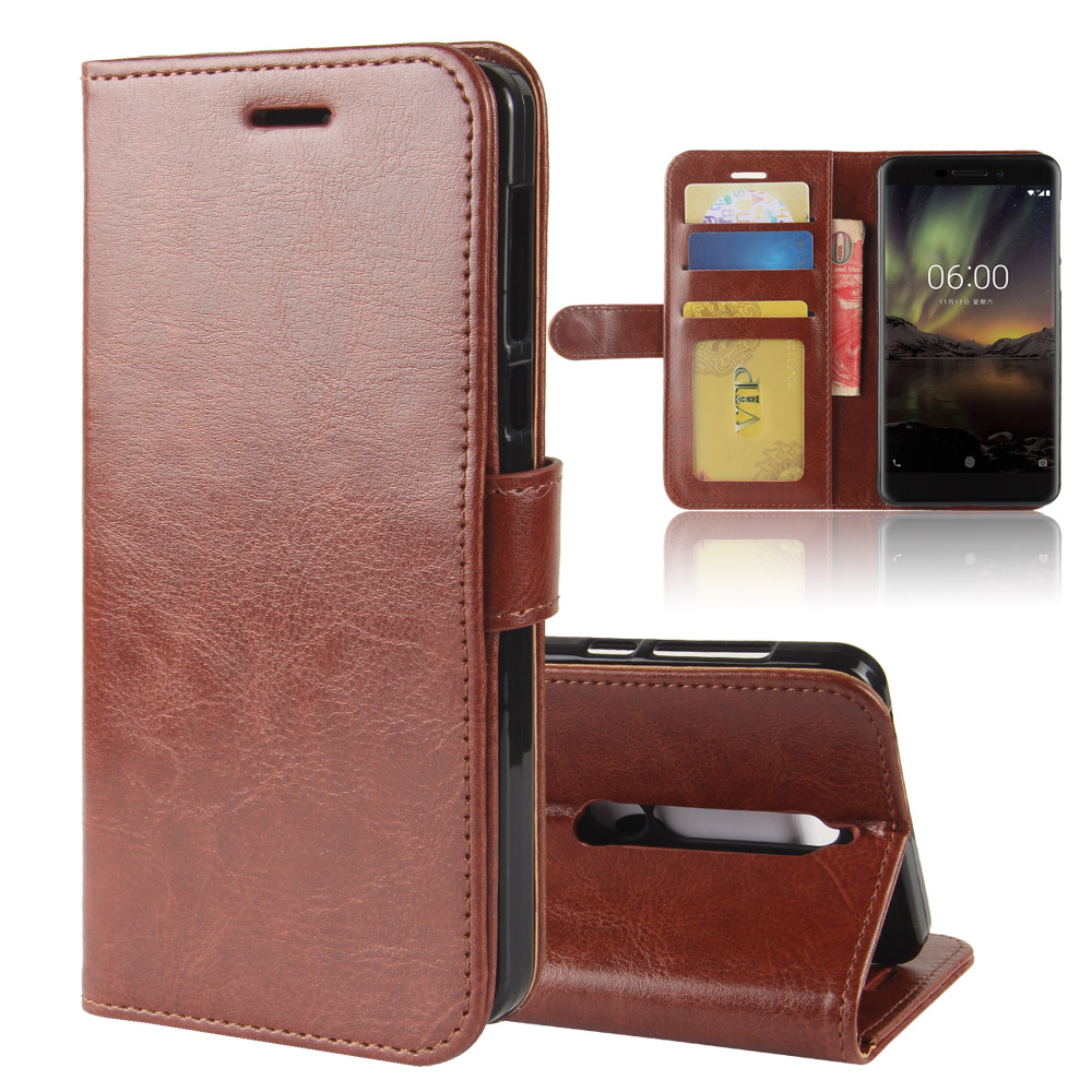 for Nokia 6 (2018) Case, Business Flip PU Leather Case Wallet Card Hold ID Slot Kickstand Cover 5.5 inch Shell Bag