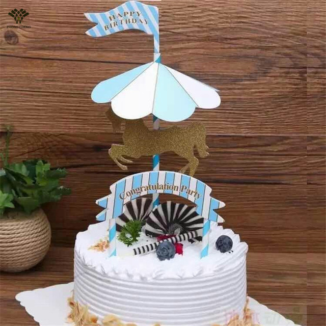 2 Pieces Carousel Horse Cake Topper Kid Birthday Cake Stand Picks