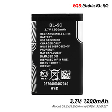 Original 3.7V 1200mAh Battery BL-5C For Nokia 1100 1101 1110 1112 1208 1600 1680 2112 2118 2255 2270 2280 2300 2600 2610 3100