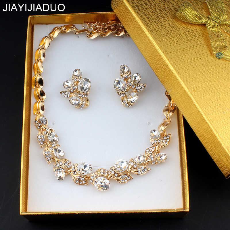 jiayijiaduo Elegant wedding jewelry set for women bridal jewelry necklace set earrings gift exquisite box dropshipping new 2018
