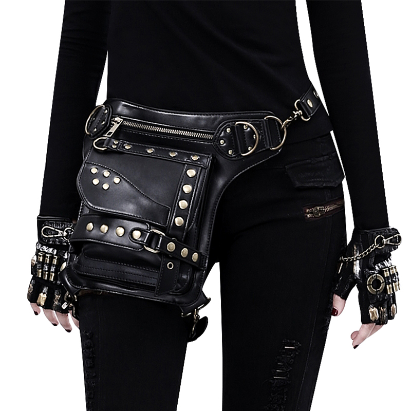 Steampunk Waist Pack Leg Bag Leather Women Military Holster Gothic Bag Motorcycle Thigh Hip Belt Packs Messenger Shoulder Bags