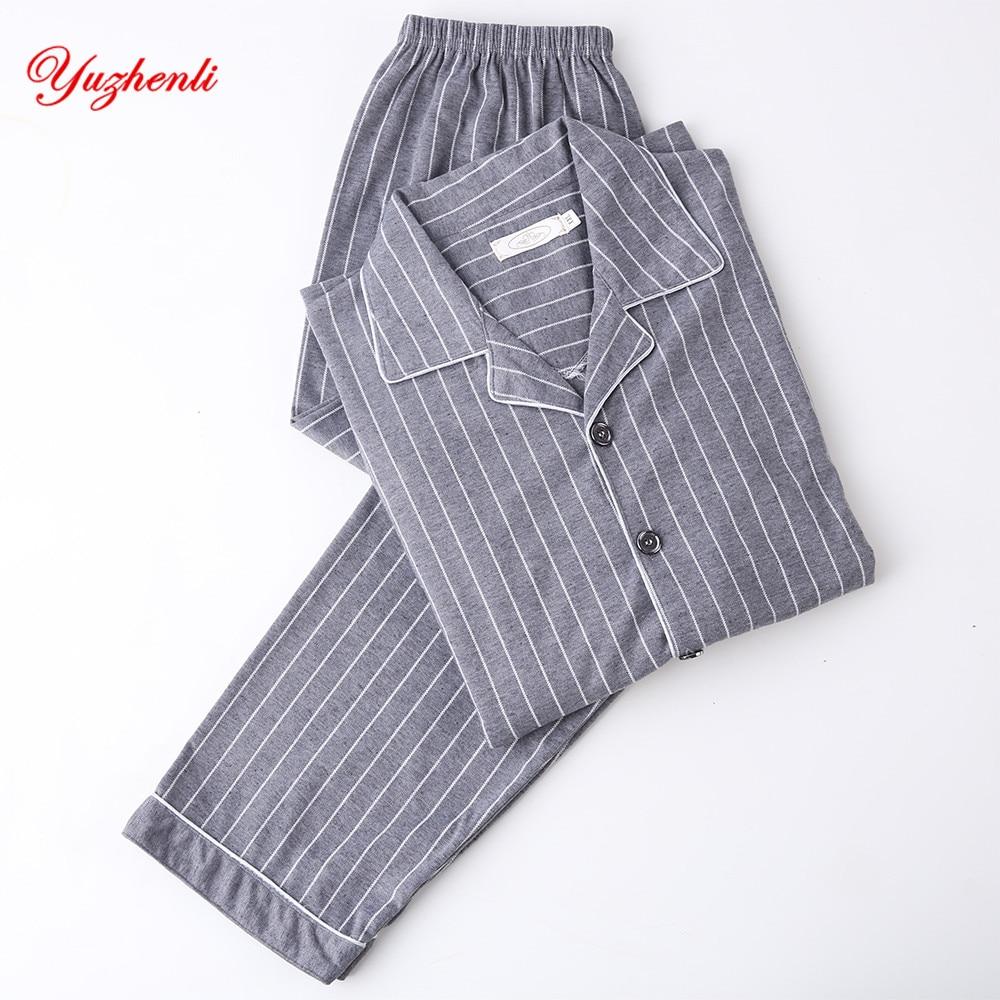Men's Pajama Sets 100% Cotton Mens Short-sleeved Pajama Set O-neck Black T-shirt Plaid Trousers Mens Pajamas Autumn Sleepwear Plus Size For 95kg Men's Sleep & Lounge