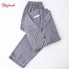70ddcf25d98fd Yuzhenli для мужчин пижамы Осень с длинным рукавом 100% хлопок мужской в  полоску Lounge наборы для ухода за кожей плюс размеры Н..