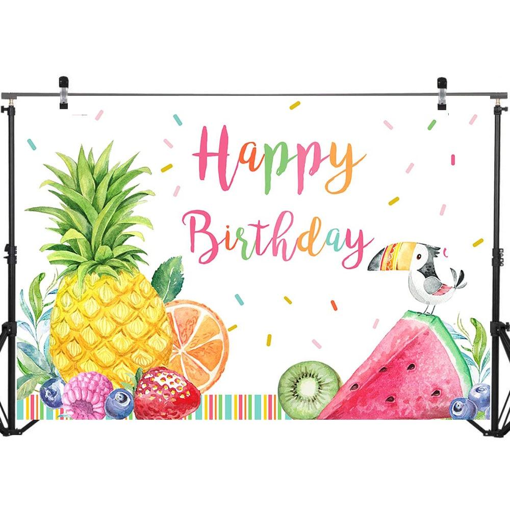 Mocsicka Fruit Party Birthday Backdrop Happy Birthday Summer Fruit Birthday Photography Background 7X5ft Vinyl Watercolor Baby Birthday Party Banner Decorations Backdrops