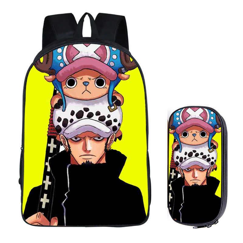 Japońskie anime ONEPIECE 2 zestaw pc z piórnikiem plecaki studenckie DIY drukowanie fajne torby uczeń dla chłopców książka dla dzieci torba