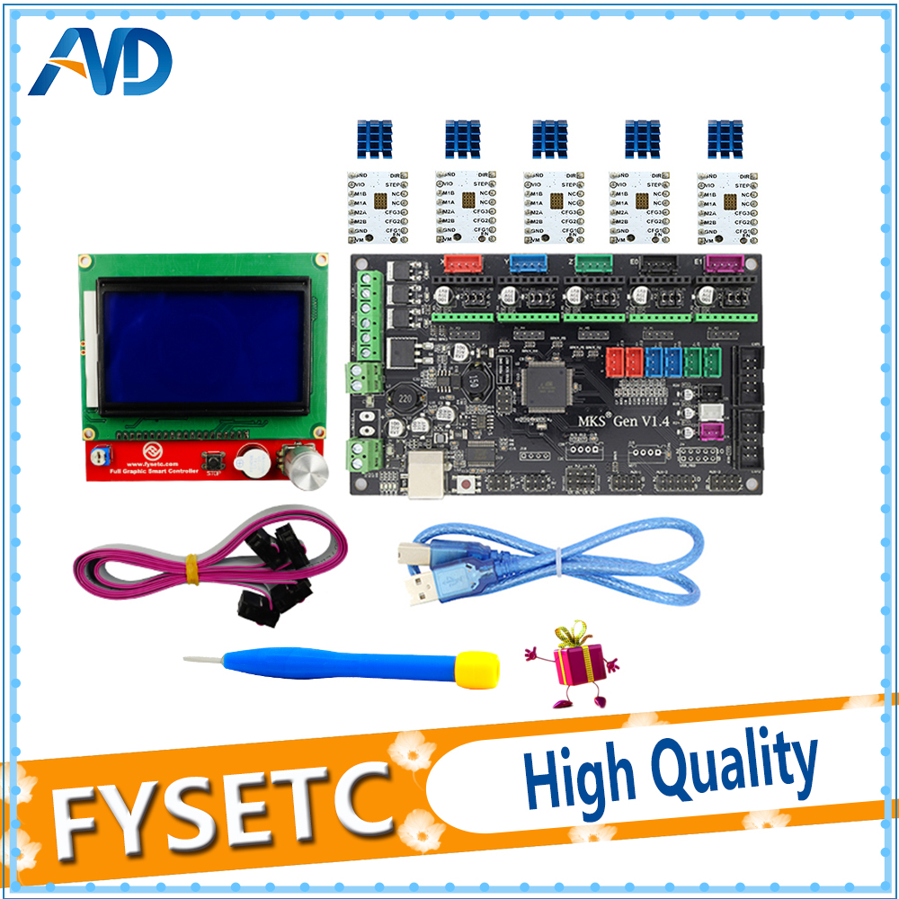MKS Gen V1.4 3D printer kit with MKS Gen V1.4 RepRap Control Board + 12864 LCD + 5PCS TMC2100 /TMC2130/TMC2208/A4988 Driver latest mks gen v1 4 control board mega 2560 r3 motherboard reprap ramps1 4 compatible with usb and 5pcs tmc2100 3d printer