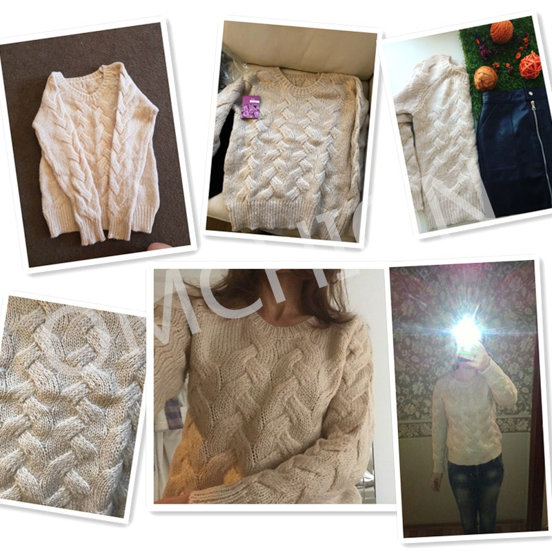 Winter knitted sweaters O Neck Oversized style Korean Pullover e849a5e47