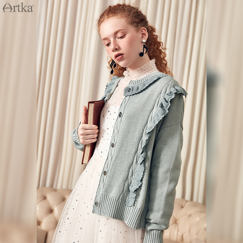 ARTKA 2019 primavera nuevas mujeres cárdigan suéter de Color sólido cuello redondo Casual algodón acrílico Material de manga larga suéter abrigo WB10098C-in chaquetas básicas from Ropa de mujer    2