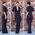 2016 новый стиль мода Женщины комбинезоны комбинезоны темно-синий Комбинезон с коротким рукавом офис комбинезоны Комбинезоны Тонкий Dashiki Комбинезоны