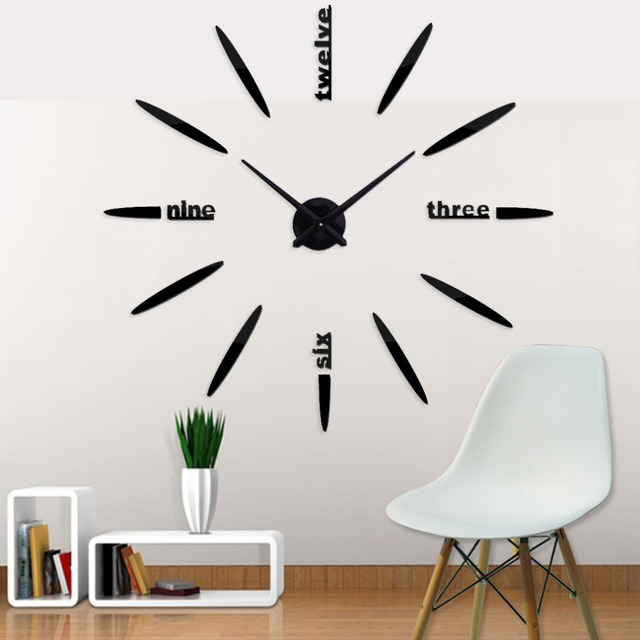 2018 digital wall clock rushed mirror sticker digital wall clock