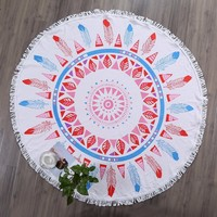 Blue Mandala Round Cotton Beach Towels Extra Large Thick Terry Cloth Oversized Microfiber Beach Towel Blanket Yoga Mat Tassels