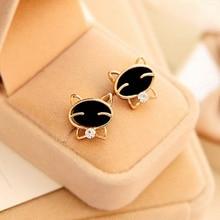 LNRRABC Black Smiling Cat Delicate Golden Alloy Crystal Women Trendy Ear Stud Female Earrings