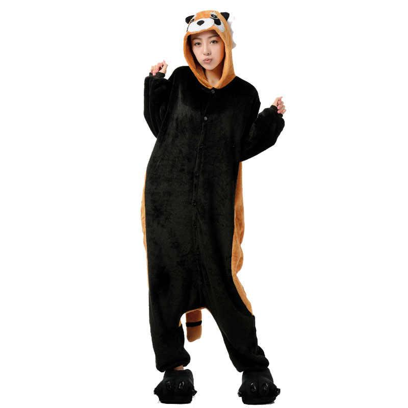 Очаровательные енота животных кигуруми для взрослая Пижама для женщин Onesie  зимняя Пижама для мужчин Ночной костюм eacb4b728e4ae