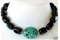 Charming Tibet Black Agates Natural Turquoises pendant Necklace Fashion Free shipping