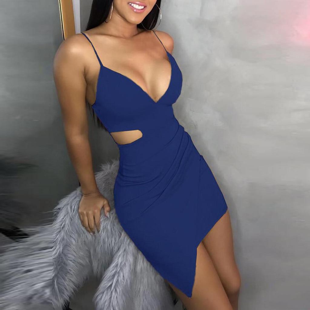 HTB1XtSQQwHqK1RjSZJnq6zNLpXaF Pure Color dress women summer 2019  Sleeveless Deep V Tight Fitting  Camisole Buttock casual dress spring sukienka vestidos#G9