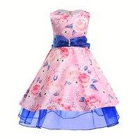 2018 Retail New Style Summer Baby Girl Print Flower Girl Dress For Wedding Girls Party Dress