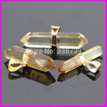 1pc/lot Natural Healing Clear Quartz Nugget Crystal Point Pendants Gem stone jewelry Pendant With Layered Edging