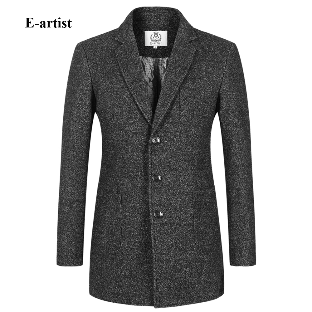 E artist Men s Slim Fit Casual Long Wool Trench Coats Jackets Male Winter Thick Peacoat