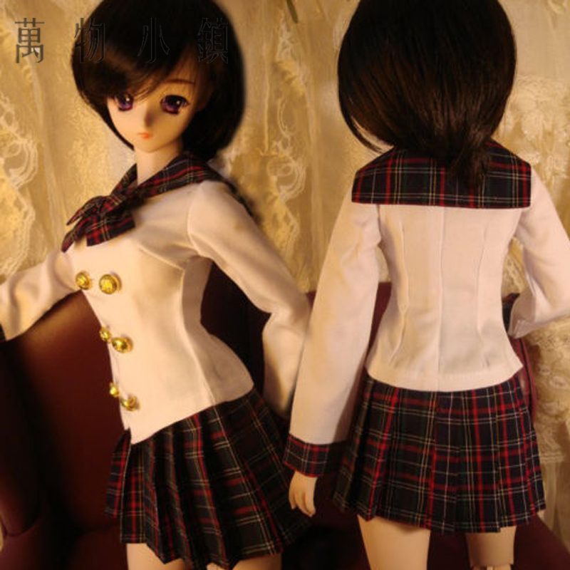 New 1/3 1/4 1/6 BJD DD SD MSD YOSD LUTS PULLIP Clothes White Shirt+Gird Pleated Skirt Uniform free match stockings for bjd 1 6 1 4 1 3 sd16 dd sd luts dz as dod doll clothes accessories sk1