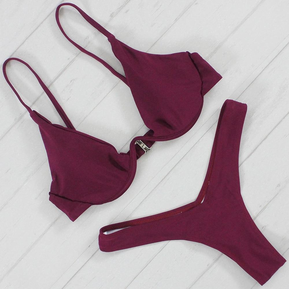 Bikini Push Up Bathing Suit Solid Color Swimsuit Women Swimwear Padded Biquinis New Bikini Set Lady Female Beachwear