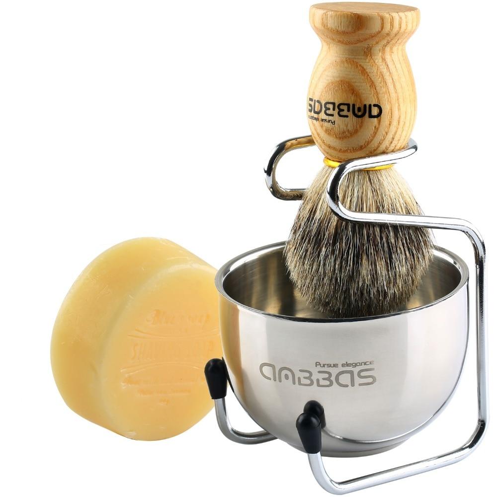 4pcs Anbbas Pure Badger Shaving Brush ,Stainless Steel Shaving Stand and 2 Layers Shaving Bowl and Goat Milk Shaving Soap Kit 1