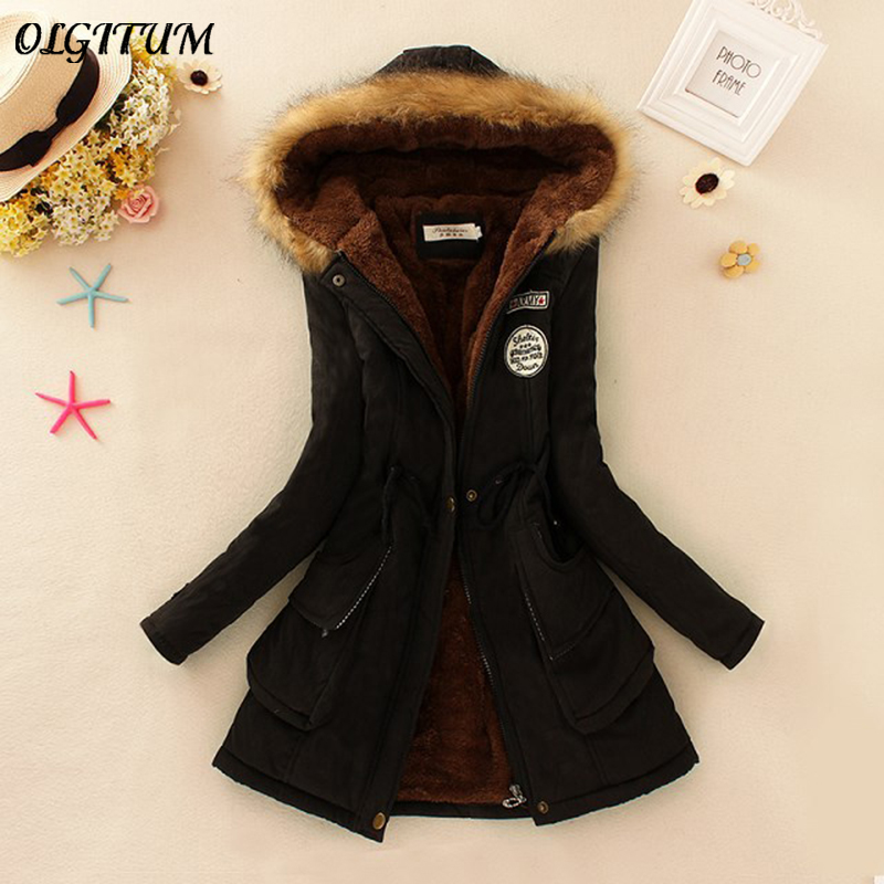 S-3XL OLGITUM 2018 Winter Coat Women Parka Casual Outwear Military Hooded Thickening Cotton Coat Winter Jacket Fur Coats Women