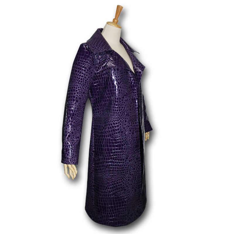 Jared Leto Joker disfraz hombre adulto escuadrón suicida Cosplay Halloween disfraz hombres mujeres púrpura PU abrigo chaqueta envío gratis