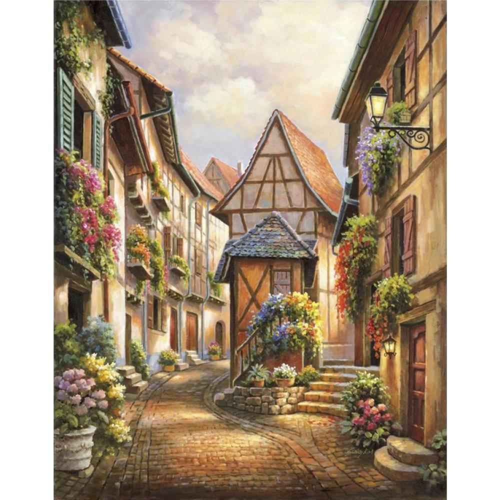 Mediterranean canvas oil painting landscape pictures Village Court art for home wall decoration