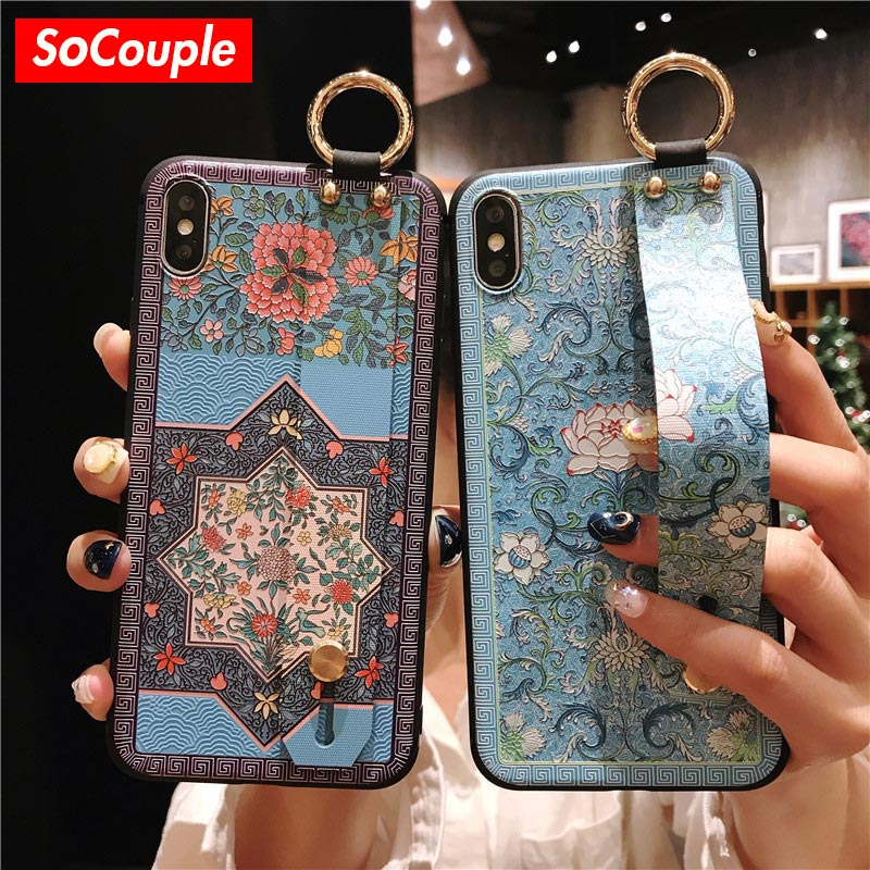 SoCouple Wrist Strap Soft TPU Phone Case For iphone 6 6s 7 8 plus Case For iphone X Xs max XR Flower embroidery Pattern Case(China)