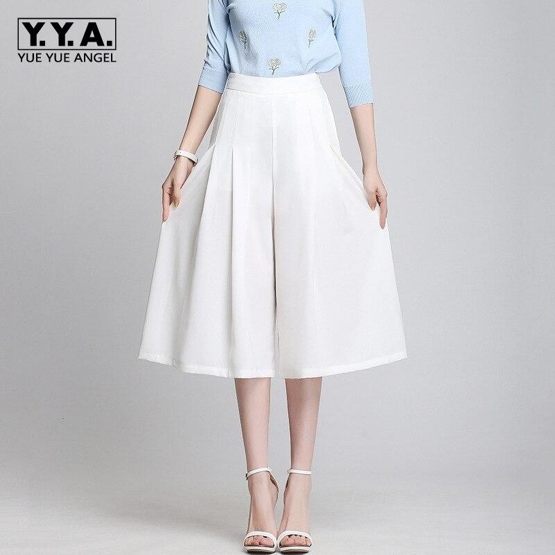 2019 Summer Women Pants Fashion High Waist Calf Length Wide Leg Women's Pants Casual Chiffon Loose Pantalones De Mujer Plus Size