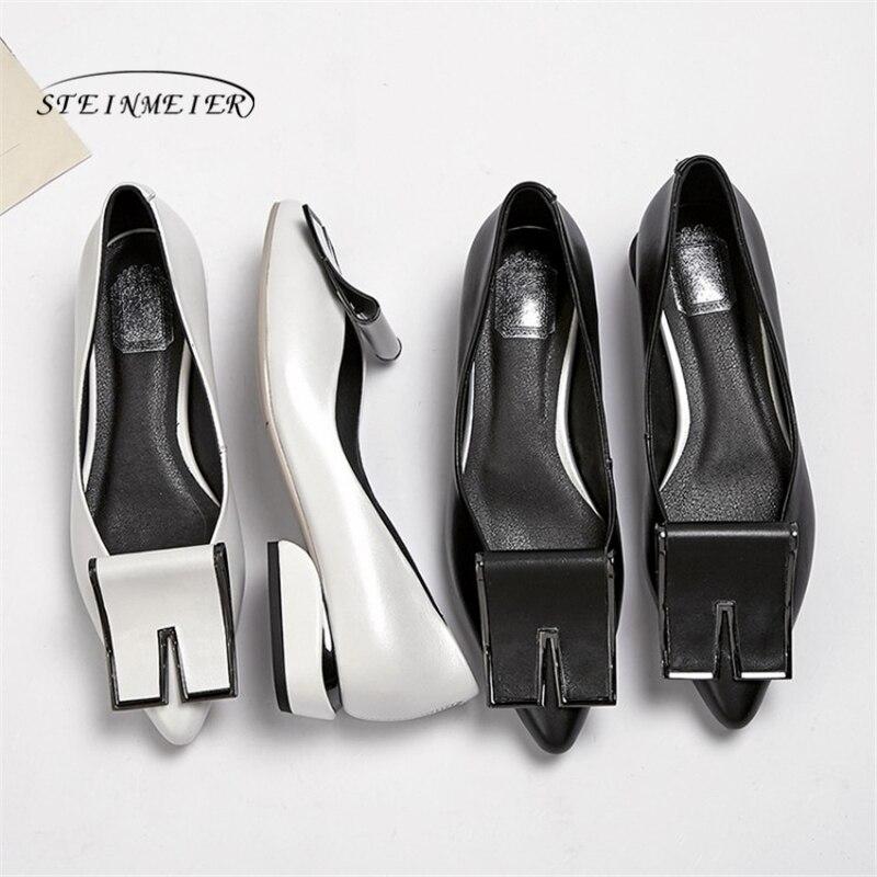 נשים דירות קיץ אביב אחת נעלי 2019 עור אמיתי שטוח עקבים אופנה נעלי אישה הבוהן נקודת slipon איכות נעליים
